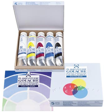 Talens plakkaatverf Extra Fijn tube van 20 ml, doos met 5 tubes in geassorteerde kleuren