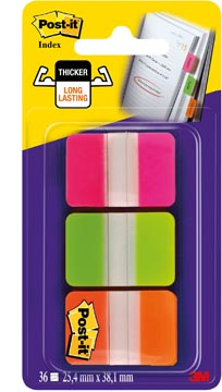 Post-it Index Strong, Roze, Groen, Oranje, 25.4 x 38 mm, 3 x 12 sheets / Kleur