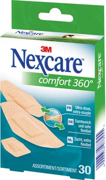 3M pleister Nexcare Comfort 360° 3 formaten, pak van 30 stuks