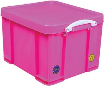 Really Useful Box opbergdoos 35 liter, neonroze met witte handvaten